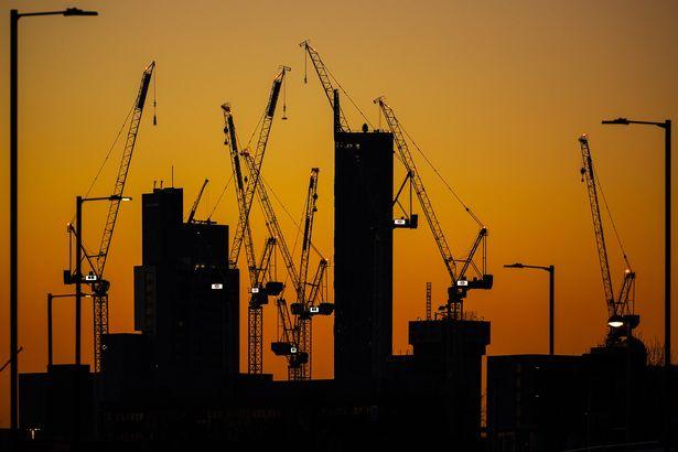 Manchester skyline at sunset
