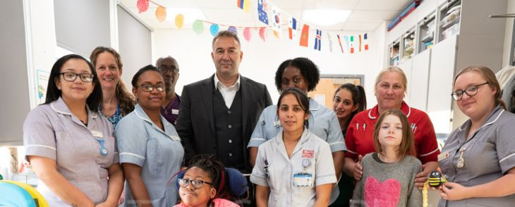 Dmitry Leus with supporters of St George's Hospital Charity