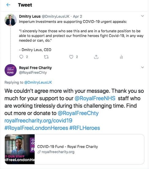 Thanks from Royal free charity